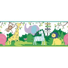 White/Yellow/Purple Animals Wallcovering by York