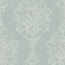 Blue/Taupe/White Damask Wallcovering by York