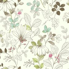 White/Brown/Aquamarine Floral Wallcovering by York