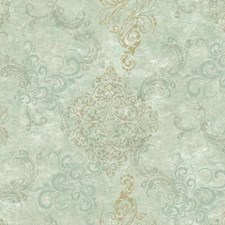 Pale Aqua/Aqua/Taupe Damask Wallcovering by York