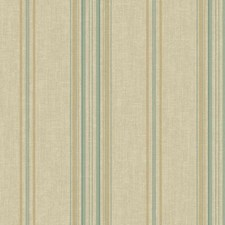 Champagne Beige Satin/Teal/Aqua Stripes Wallcovering by York