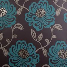 Teal Floral Medium Wallcovering by Clarke & Clarke