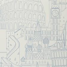 Blue Novelty Wallcovering by Clarke & Clarke