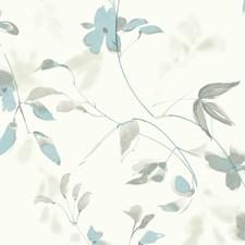 Ivory/Blue/Beige Botanical Wallcovering by Kravet Wallpaper