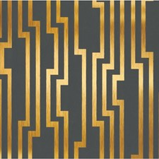 Charcoal/Gold/Metallic Geometric Wallcovering by Kravet Wallpaper