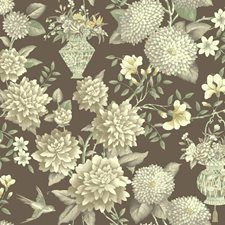 Deep Brown/White/Pale Yellow Floral Wallcovering by York