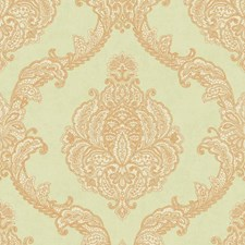 Spa Green/Gold Damask Wallcovering by York