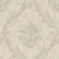 Gray/Silver Floral Wallcovering by York