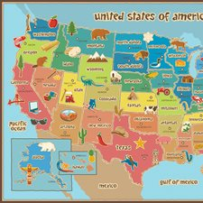 WPE0623 Kids Usa Dry Erase Map Decal by Brewster