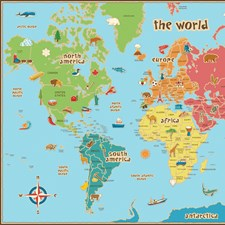 WPE0624 Kids World Dry Erase Map Decal by Brewster