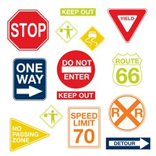WPK0617 Road Signs Wall Art Kit by Brewster