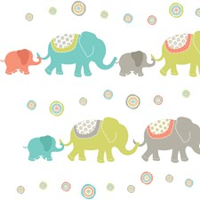WPK0841 Tag Along Elephants Applique Wall Art Kit by Brewster