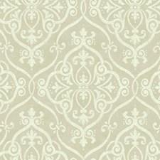 Dark Beige/Cream/Golden Glitter Damask Wallcovering by York