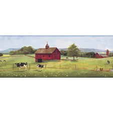 Pale Blue/Yellow Green/Barn Red Scenic Wallcovering by York