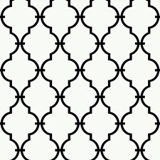 Warm White/Black Geometrics Wallcovering by York