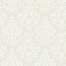 Deep Oyster/White Damask Wallcovering by York